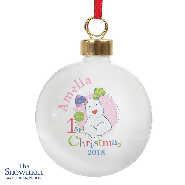 Personalised The Snowman and the Snowdog My 1st Christmas Pink Bauble from Sassy Bloom Gifts - alternative view