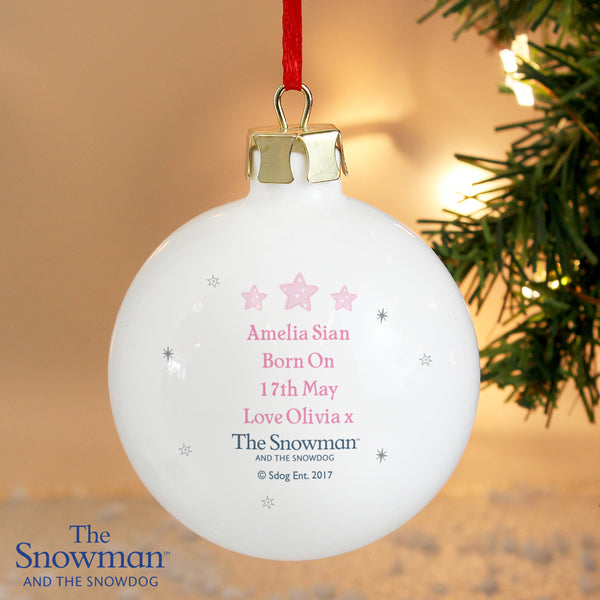 Personalised The Snowman and the Snowdog My 1st Christmas Pink Bauble lifestyle image