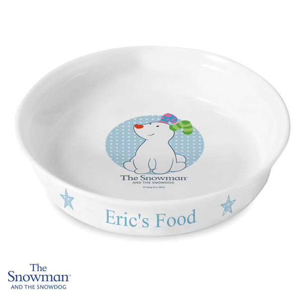 Personalised The Snowdog Blue Dog Bowl white background