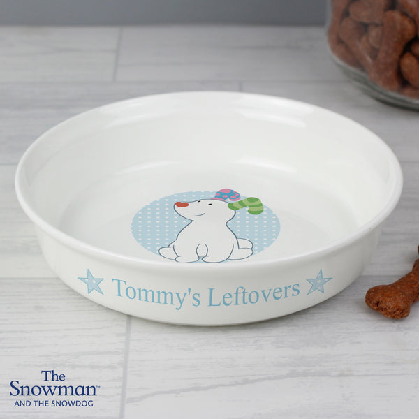 Personalised The Snowdog Blue Dog Bowl from Sassy Bloom Gifts - alternative view