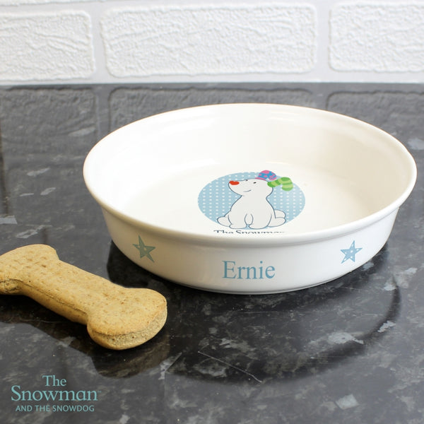 Personalised The Snowdog Blue Dog Bowl with personalised name