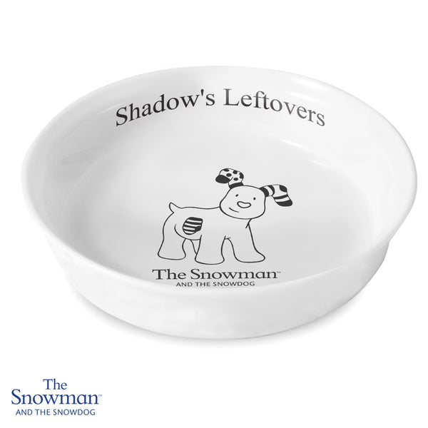 Personalised The Snowdog Pet Bowl white background