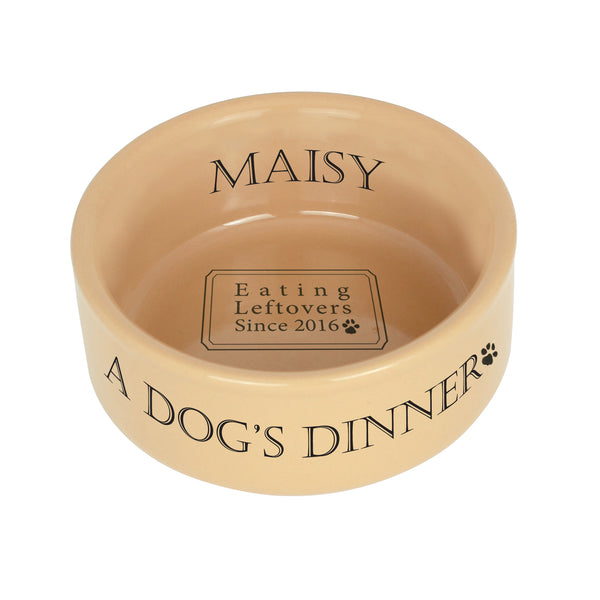 Personalised A Dogs Dinner Medium Brown Dog Bowl white background