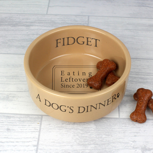 Personalised A Dogs Dinner Medium Brown Dog Bowl from Sassy Bloom Gifts - alternative view