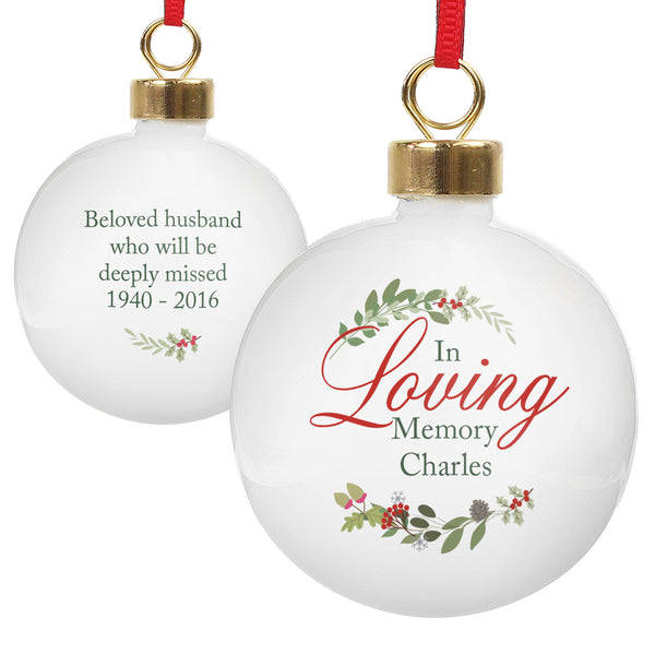 Personalised In Loving Memory Wreath Bauble white background
