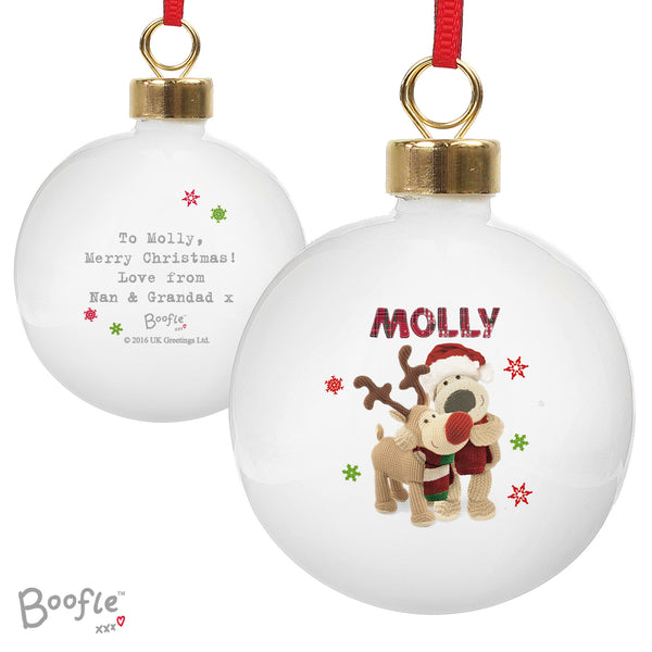 Personalised Boofle Christmas Reindeer Bauble white background