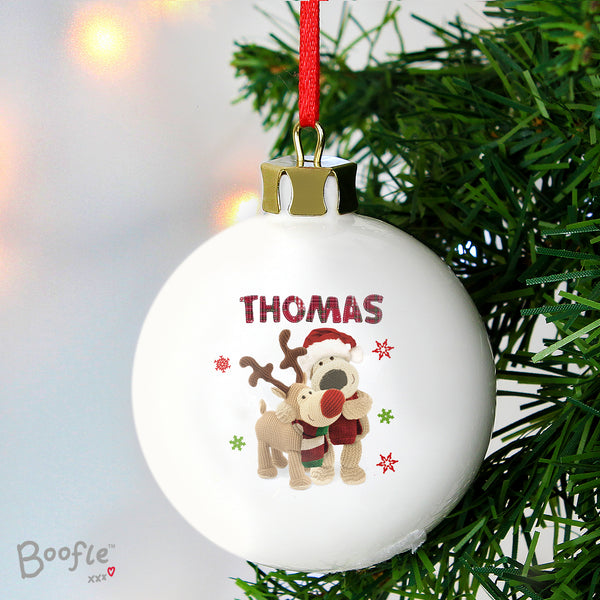 Personalised Boofle Christmas Reindeer Bauble lifestyle image