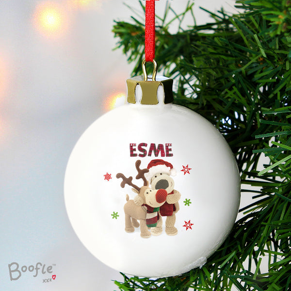 Personalised Boofle Christmas Reindeer Bauble with personalised name