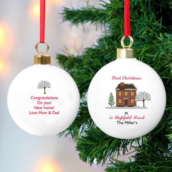 Personalised Cosy Christmas Bauble white background