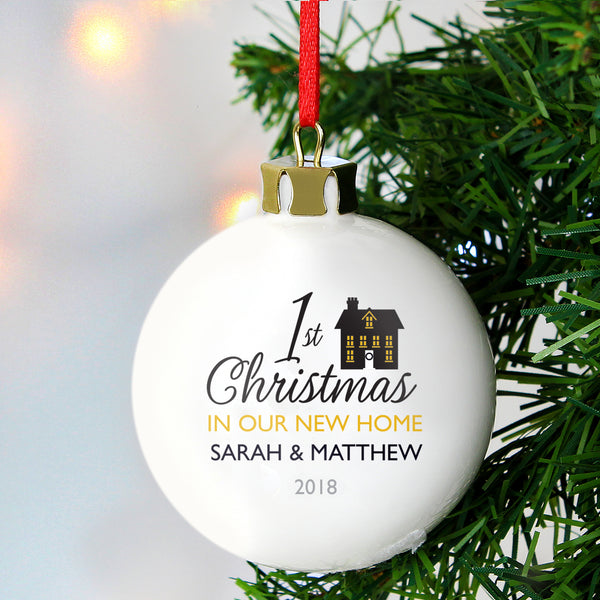 Personalised 1st Christmas in Our New Home Bauble white background