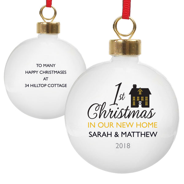 Personalised 1st Christmas in Our New Home Bauble from Sassy Bloom Gifts - alternative view