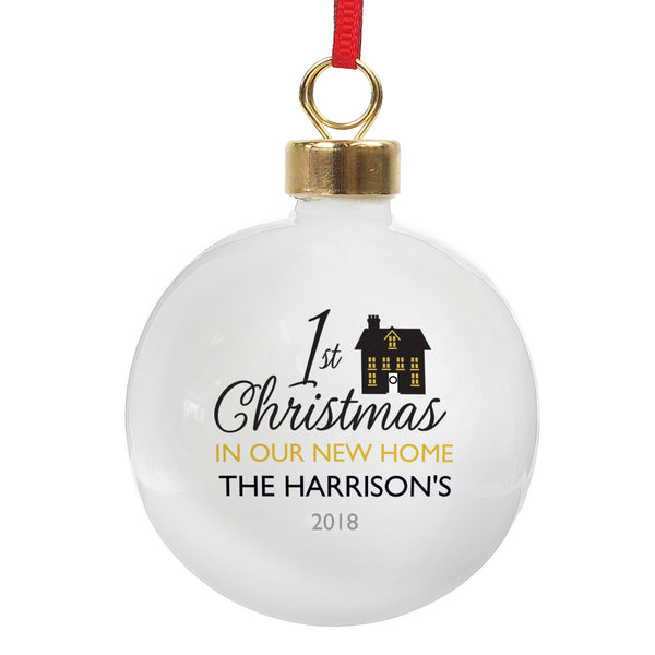 Personalised 1st Christmas in Our New Home Bauble lifestyle image