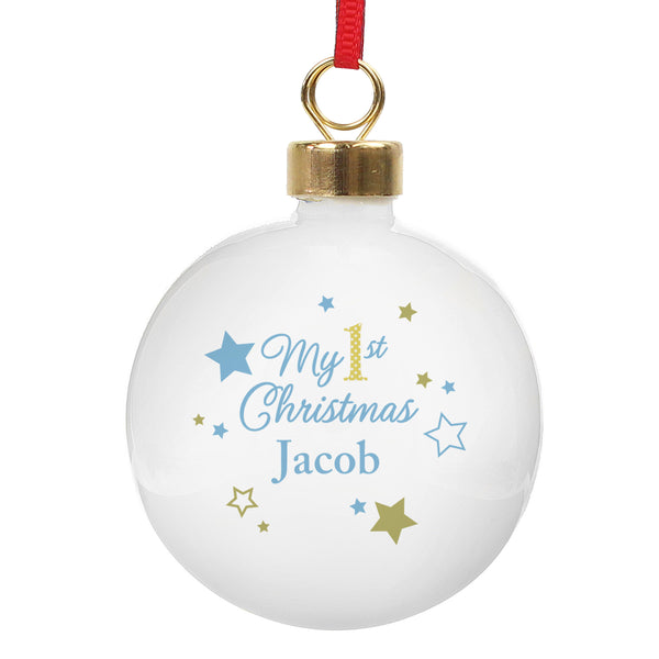 Personalised Gold & Blue Stars My 1st Christmas Bauble white background
