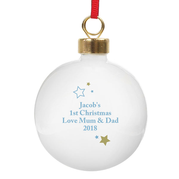 Personalised Gold & Blue Stars My 1st Christmas Bauble from Sassy Bloom Gifts - alternative view