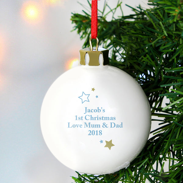 Personalised Gold & Blue Stars My 1st Christmas Bauble lifestyle image