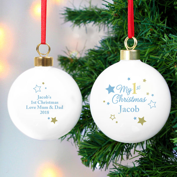 Personalised Gold & Blue Stars My 1st Christmas Bauble with personalised name