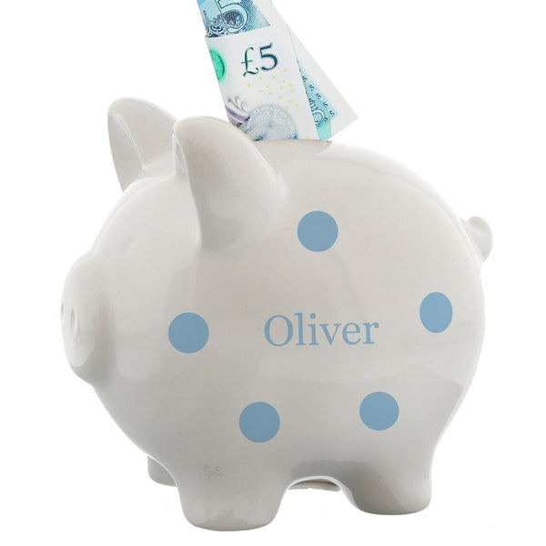 Personalised Blue Polka Dot Piggy Bank white background