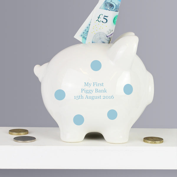Personalised Blue Polka Dot Piggy Bank from Sassy Bloom Gifts - alternative view