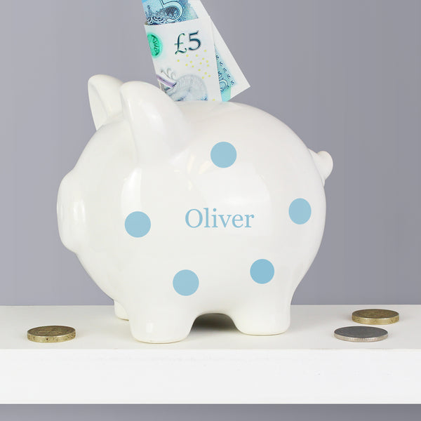 Personalised Blue Polka Dot Piggy Bank with personalised name