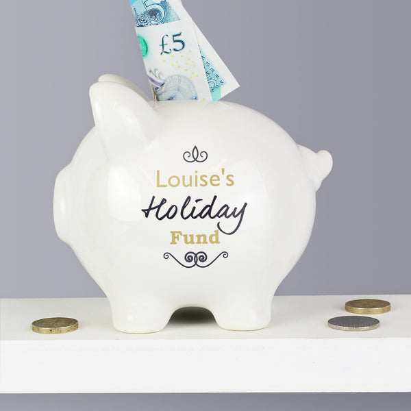 Personalised Black Swirl Piggy Bank lifestyle image