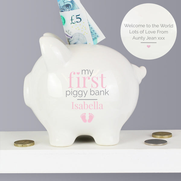 Personalised Pink My First Piggy Bank