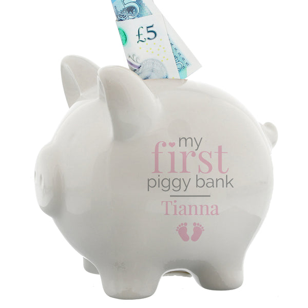 Personalised Pink My First Piggy Bank white background