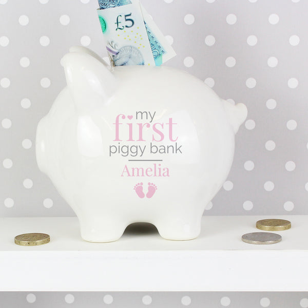 Personalised Pink My First Piggy Bank from Sassy Bloom Gifts - alternative view