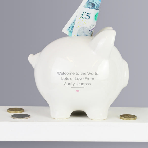 Personalised Pink My First Piggy Bank lifestyle image