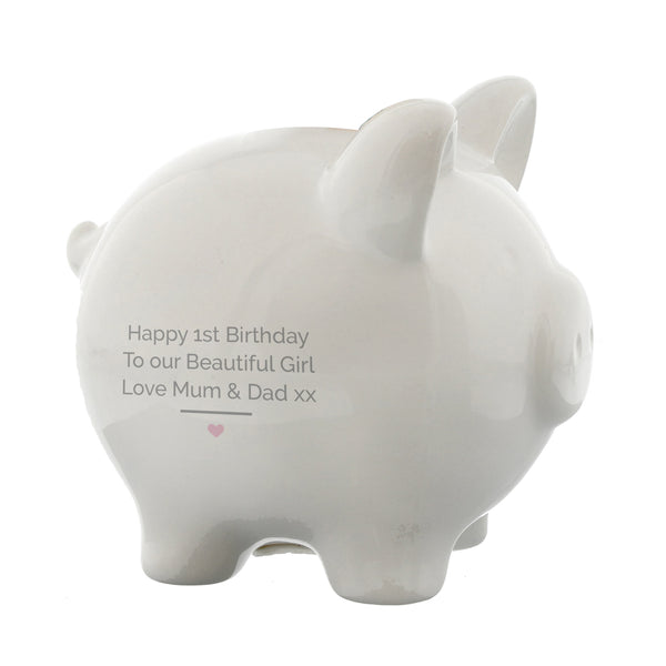 Personalised Pink My First Piggy Bank with personalised name