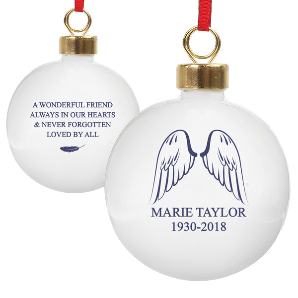 Personalised Angel Wings Bauble white background