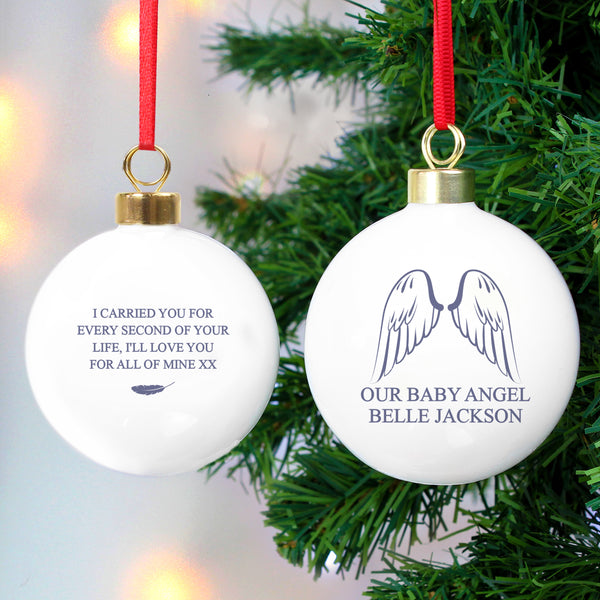 Personalised Angel Wings Bauble with personalised name