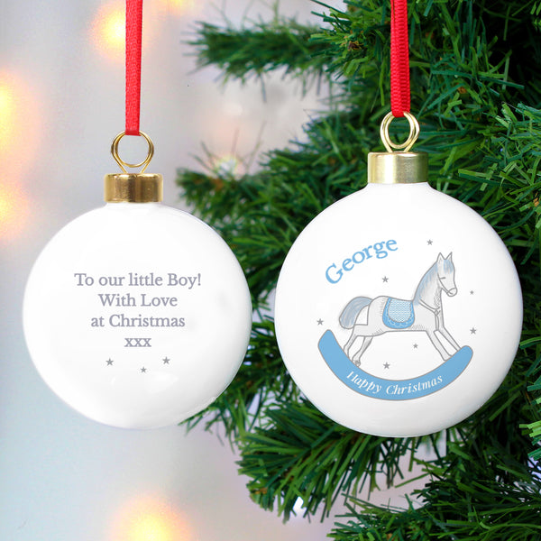 Personalised 1st Christmas Blue Rocking Horse Bauble with personalised name