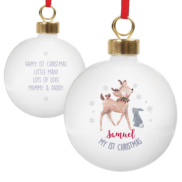 Personalised 1st Christmas Festive Fawn Bauble white background