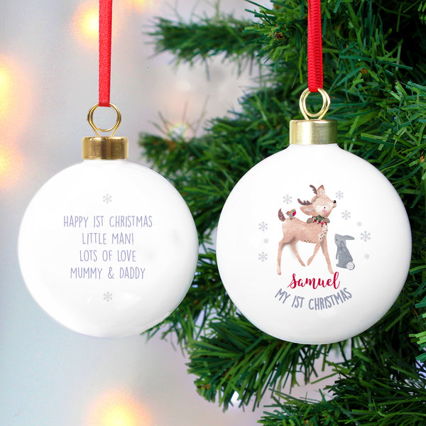 Personalised 1st Christmas Festive Fawn Bauble lifestyle image