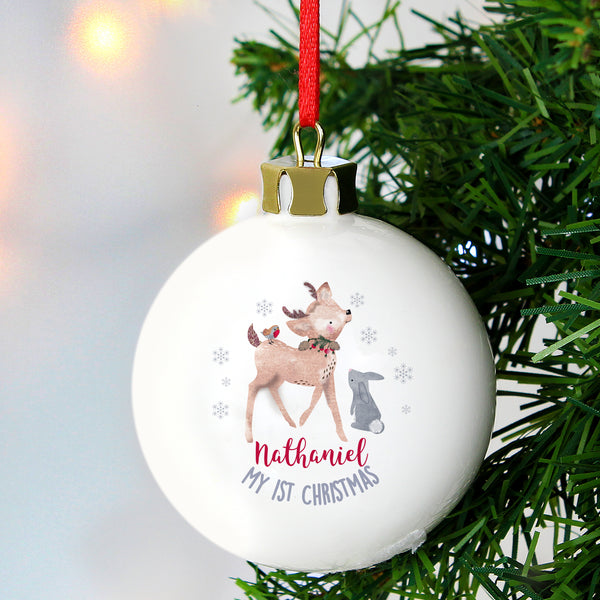 Personalised 1st Christmas Festive Fawn Bauble with personalised name