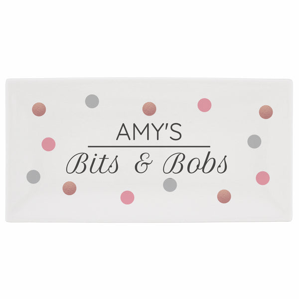 Personalised Spotty Bits & Bobs Bone China Trinket Tray white background