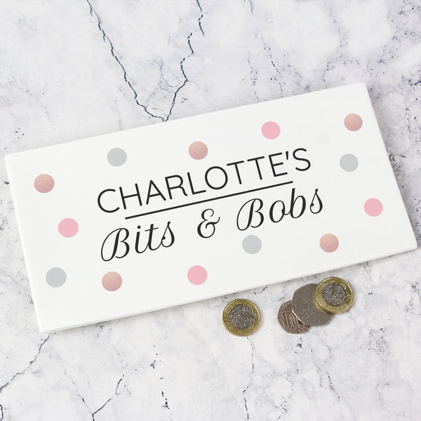 Personalised Spotty Bits & Bobs Bone China Trinket Tray lifestyle image