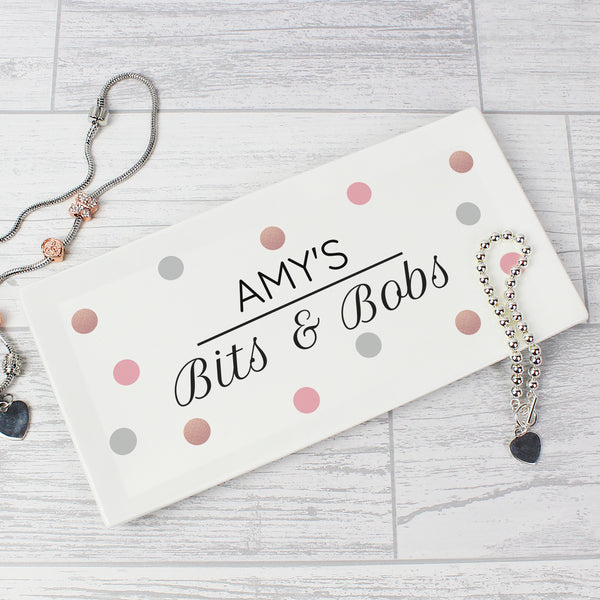 Personalised Spotty Bits & Bobs Bone China Trinket Tray