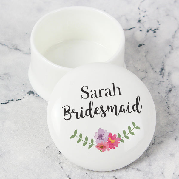 Personalised Floral Ceramic Trinket Box