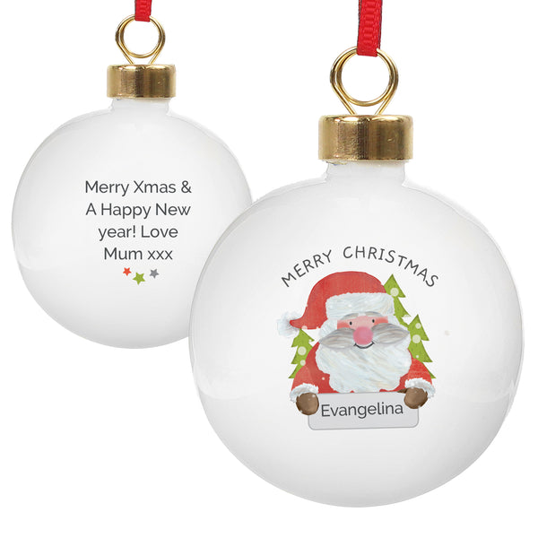 Personalised Santa Claus Bauble white background