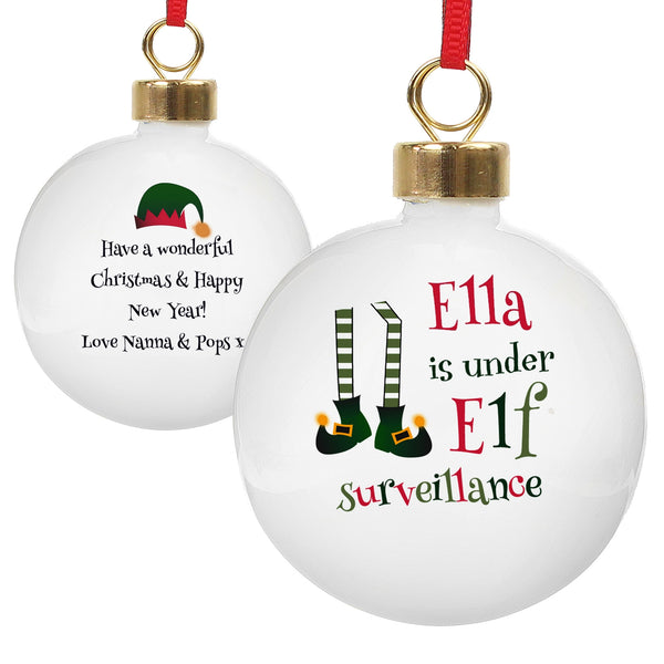 Personalised Elf Surveillance Bauble white background