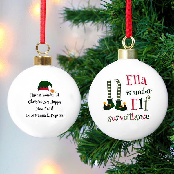 Personalised Elf Surveillance Bauble from Sassy Bloom Gifts - alternative view