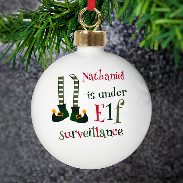 Personalised Elf Surveillance Bauble lifestyle image