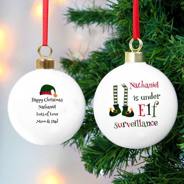 Personalised Elf Surveillance Bauble with personalised name