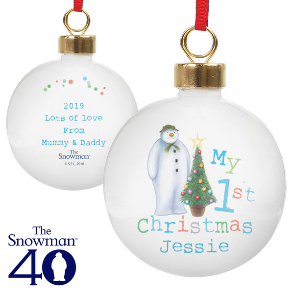 Personalised The Snowman My 1st Christmas Bauble white background