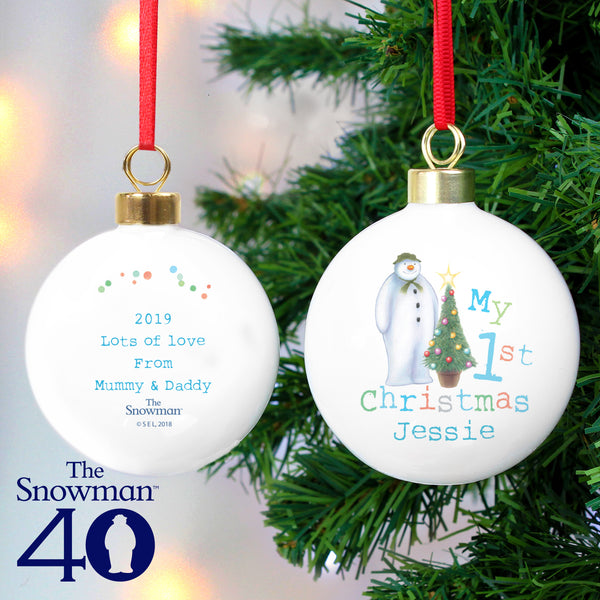 Personalised The Snowman My 1st Christmas Bauble from Sassy Bloom Gifts - alternative view