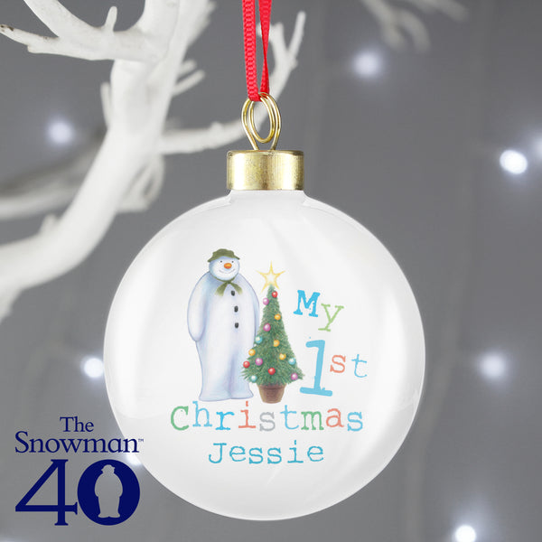 Personalised The Snowman My 1st Christmas Bauble lifestyle image
