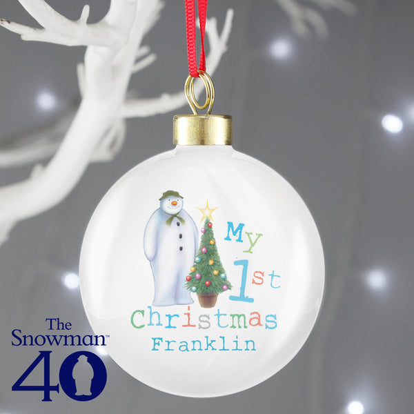 Personalised The Snowman My 1st Christmas Bauble with personalised name