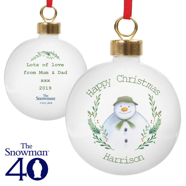 Personalised The Snowman Winter Garden Bauble white background