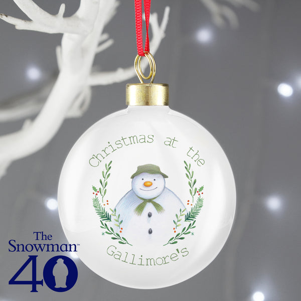 Personalised The Snowman Winter Garden Bauble lifestyle image